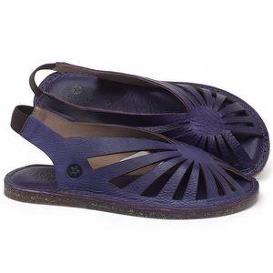 Rasteira Flat em couro Violeta - Código - 141152