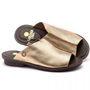 Rasteira Flat em couro ouro velho - Código - 139020