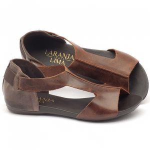 Rasteira Flat em couro marrom - Código - 137026