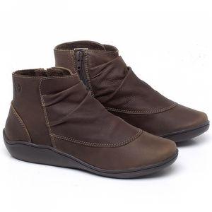 Flat Boot em couro Marrom Telha - Código - 139037