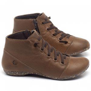 Flat Boot em couro Conhaque - Código - 148023