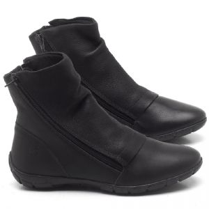 Flat Boot em couro Preto - CÓDIGO - 137260
