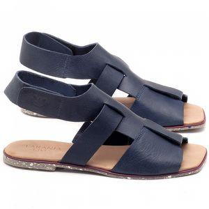 Rasteira Flat em couro azul marinho - Código - 145030