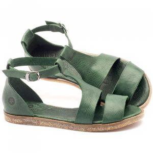 Rasteira Flat em couro verde - Código - 141019