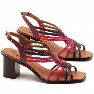 Sandália Salto médio de 6cm em couro Vermelho Amora - Código - 3547