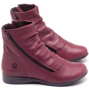 Flat Boot em couro vinho - Código - 137164