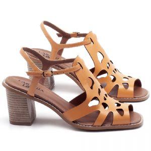 Sandália Salto Médio de 6cm em couro Laranja - Código - 3508