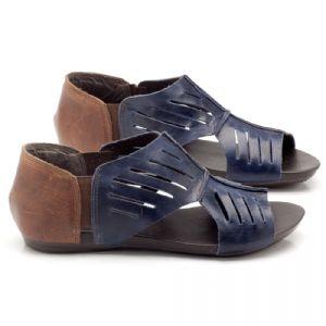 Rasteira Flat azul marinho em couro 137024