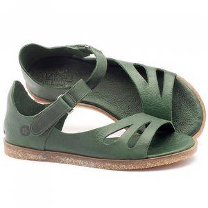 Rasteira Flat em couro verde - Código - 141054