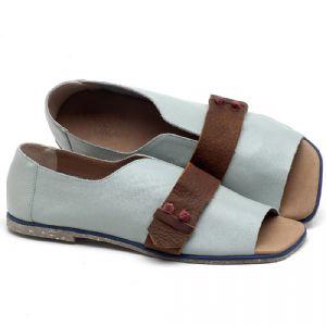 Rasteira Flat em couro Azul - Código - 145002