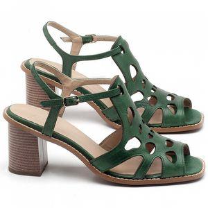 Sandália Salto Médio de 6cm em Couro Verde Bandeira - Código - 3508