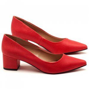 Scarpin Salto Médio de 5cm em couro Vermelho - Código - 9437