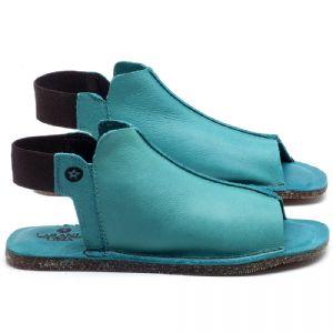 Rasteira Flat em couro Azul Piscina - Código - 141116
