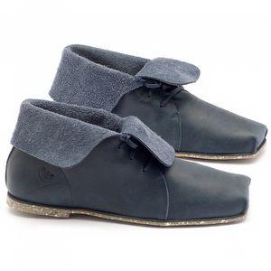 Sapato Fechado Estilo Boho-Chic em couro marinho - Código - 145004