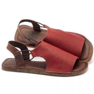 Rasteira Flat em couro vermelho - Código - 141043