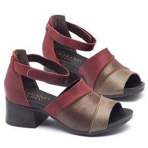 Sandália Boho em couro vermelho com marrom com salto de 5cm - Código - 137079