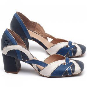 Scarpin Salto Médio Em couro Azul Marinho com Branco - Código - 3651
