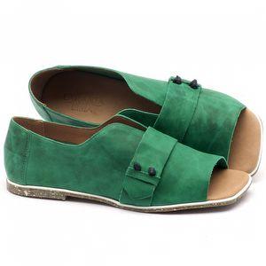 Rasteira Flat em couro verde - Código - 145002