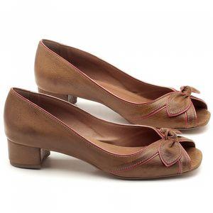 Peep Toe Salto Baixo de 4cm em couro Marrom Conhaque com Cereja - Código - 3473