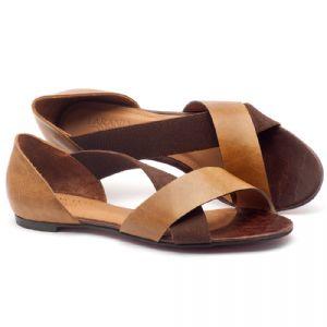Rasteira Flat em couro mostarda - Código - 56121
