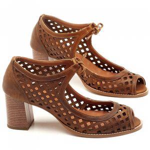 Sandália Salto de 6cm em couro Caramelo - Código - 3602