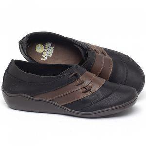 Flat Shoes em couro Preto com Marrom - Código - 139032