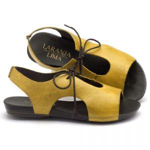 Rasteira Flat em couro amarelo 137052