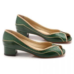 Peep Toe Salto Baixo de 3cm, verde em couro 3423