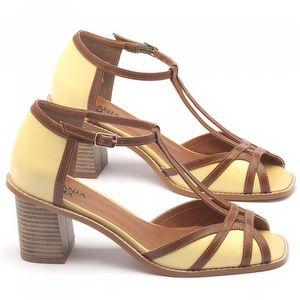 Sandália Salto médio de 6cm em couro - Código - 3524