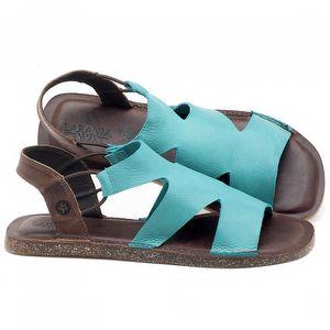 Rasteira Flat em couro Azul Piscina - Código - 141110