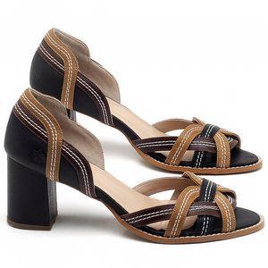 Sandália Salto Médio de 6cm em couro Preto, Telha e Conhaque - Código - 3545