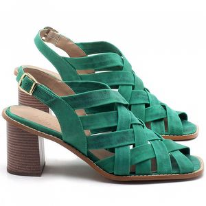 Sandália Salto Médio de 6cm em couro Verde Bandeira - Código - 3544