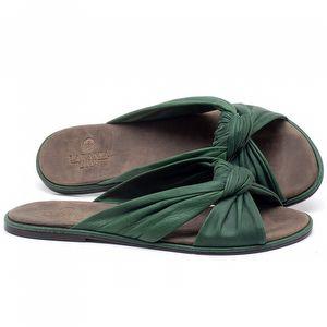 Rasteira Flat em couro Verde Bandeira - Código - 3669