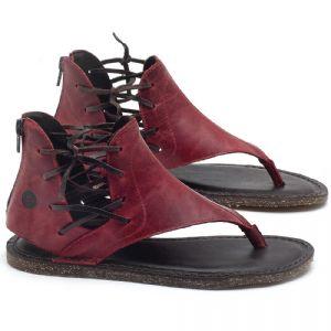 Rasteira Flat em couro Vermelho - Código - 141114