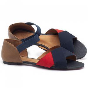 Rasteira Flat em couro Azul Marinho, vermelho, Conhaque - Código - 56122