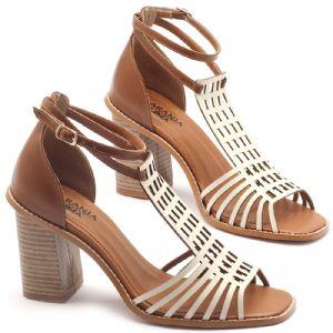 Sandália Salto médio de 6cm em couro off-white com havana - Código - 3551
