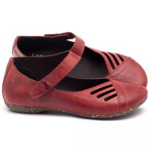 Sapatilha Bico Fechado em couro Vermelho Coral - Código - 148020
