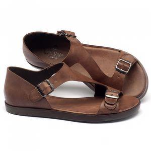 Rasteira Flat em couro marrom 141020
