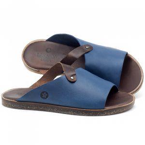 Rasteira Flat em couro Azul Bic - Código - 141056