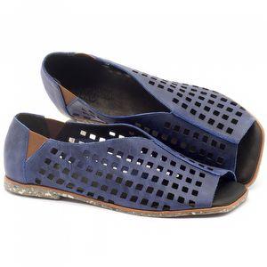 Rasteira Flat em couro azul com palmilha em couro - Código - 145016