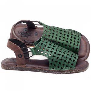 Rasteira Flat em couro Verde Bandeira - Código - 141107