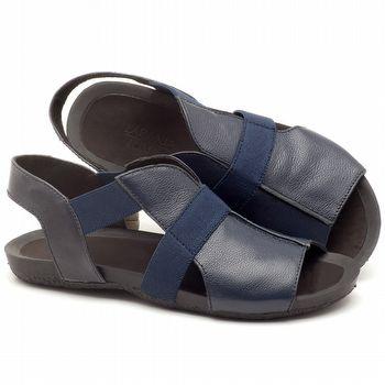 Rasteira Flat em couro azul marinho - Código - 56139