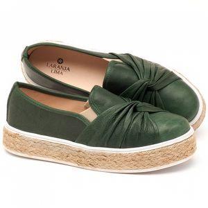 Tênis Cano Baixo em couro verde militar - Código - 9429