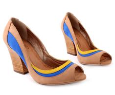 Peep Toe Salto Alto Creme Azul e amarelo 93033