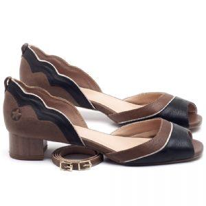 Peep Toe Salto Baixo em couro Preto com Telha - CÓDIGO - 3701
