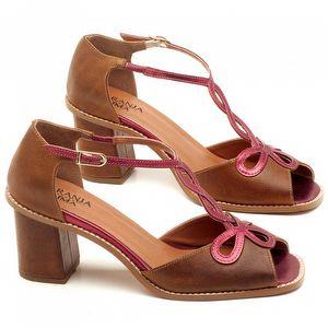 Sandália Salto de 6cm em couro Marrom Conhaque com Amora - Código - 3598