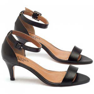 Sandália Salto médio de 7cm em couro preto - Código - 3553