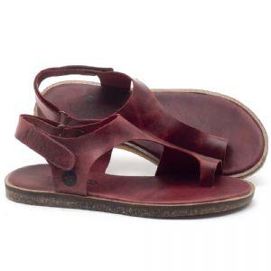 Rasteira Flat em couro Vermelho - Código - 141102