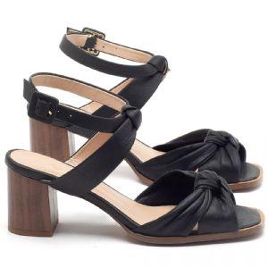Sandália Salto Médio de 6cm em couro Preto - CÓDIGO - 3693
