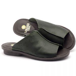 Rasteira Flat em couro verde - Código - 139020